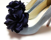Set of 2pcs- Navy Blue BIG Satin Flower shoe clips,Hair clips-your color choice