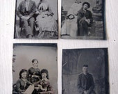 Antique Tintype Photograph Lot of 4 Misc Folks - Reduced