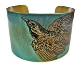 Bird Vintage style brass cuff bracelet Free Shipping to USA
