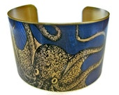 cuff bracelet CURIOUS OCTOPUS Vintage style brass or stainless steel Gifts for her