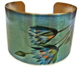 Blue Lotus adjustable cuff bracelet Vintage style brass Gifts for her