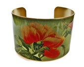 Peony cuff bracelet brass or aluminum adjustable Free Shipping to USA Gifts for her