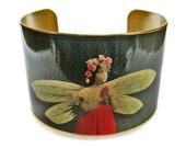 Dragonfly Girl cuff bracelet brass or stainless steel adjustable Free Shipping to USA