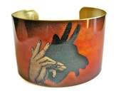 Billy Goat Shadow Puppet cuff bracelet brass   Free Shipping to USA Gifts for her