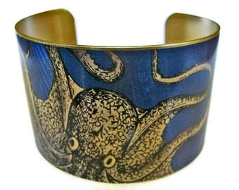 cuff bracelet CURIOUS OCTOPUS Vintage style brass or aluminum Gifts for her
