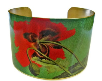 Underside of Poppy cuff bracelet brass or aluminum Gifts for her