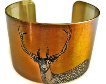 STAG DEER cuff bracelet brass or aluminum Gifts for her