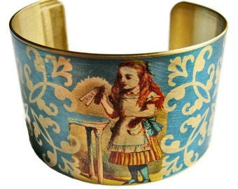Alice in Wonderland Cuff Bracelet vintage style brass or aluminum Free Shipping to USA Gifts for her