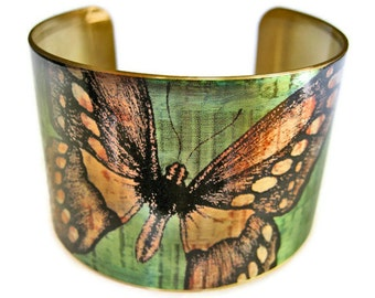 Butterfly cuff bracelet brass adjstable brass or aluminum Gifts for her
