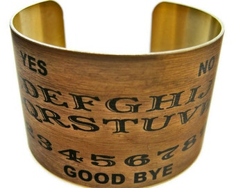 Ouija Board cuff bracelet Halloween jewelry brass or aluminum Gifts for her