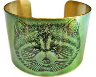 RACCOON cuff bracelet brass or stainless steel Gifts for her