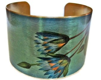 Blue Lotus adjustable cuff bracelet Vintage style brass Gifts for her aluminum