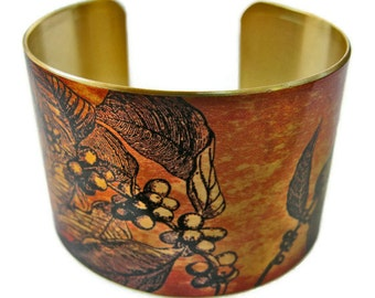 Coffee Branch cuff bracelet brass or aluminum Gifts for her