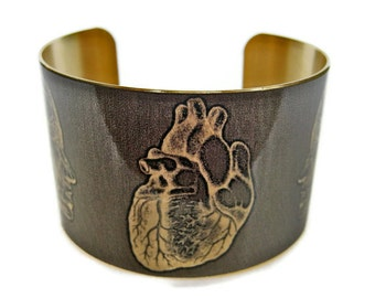 Anatomical Heart Heads cuff bracelet brass or aluminum Free Shipping to USA Gifts for her