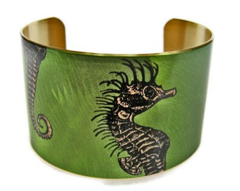 Seahorse cuff bracelet brass or aluminum free shipping to USA Gifts for her