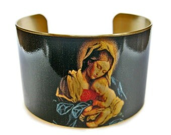 Madonna and Child cuff bracelet brass or aluminum adjustable Free Shipping Gifts for her