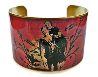 Bonnie and Clyde cuff bracelet brass or stainless steel Gifts for her