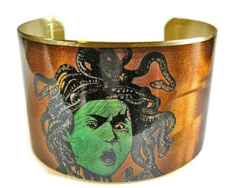 Medusa cuff bracelet brass or aluminum Gifts for her