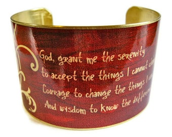 Serenity Prayer cuff bracelet brass or aluminum Gifts for her