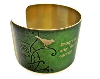 "GEORGE BERNARD SHAW cuff bracelet ""Progress is impossible without change..."" vintage style brass or steel Gifts for her"