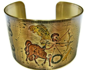 Sagittarius Astrology cuff bracelet Zodiac Horoscope brass or stainlesss steel Gifts for her
