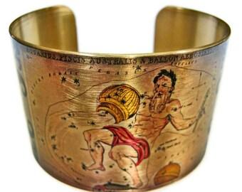 Aquarius Zodiac Astrology Horoscope cuff bracelet brass or aluminum Gifts for her