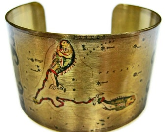 Pisces Zodiac Astrology Horoscope cuff bracelet brass or aluminum Free  Shipping Gifts for her