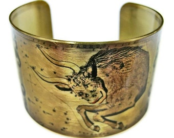 Taurus Zodiac Astrology Horoscope cuff bracelet brass or aluminum Gifts for her