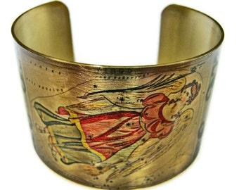 Virgo Zodiac Astrology Horoscope cuff bracelet brass or aluminum Gifts for her