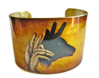 Deer Shadow Puppet cuff bracelet brass or stainless steel Free Shipping to USA Gifts for her