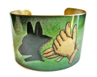 Dog Shadow Puppet cuff bracelet brass or aluminum Gifts for her