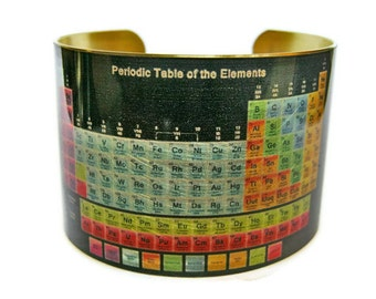 Periodic Table of Elements cuff bracelet brass or aluminum Gifts for her Science gifts
