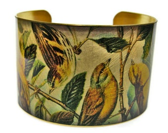 Goldfinches cuff bracelet Bird brass or aluminum Gifts for her