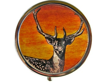 Pill Box Case Deer Silver Stash