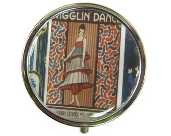 Wigglin' Dance Pill Box Stash Case Silver flapper