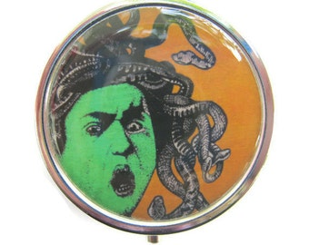 Medusa Pill Box Stash Case Silver