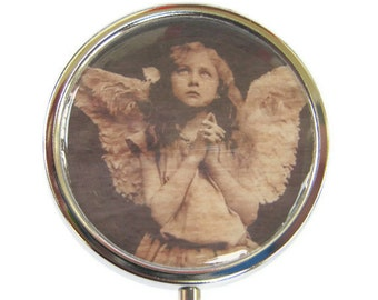 Angel Pill Box Stash Case Silver