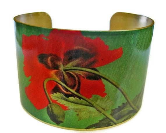 Underside of Poppy cuff bracelet brass or stainless steel Gifts for her