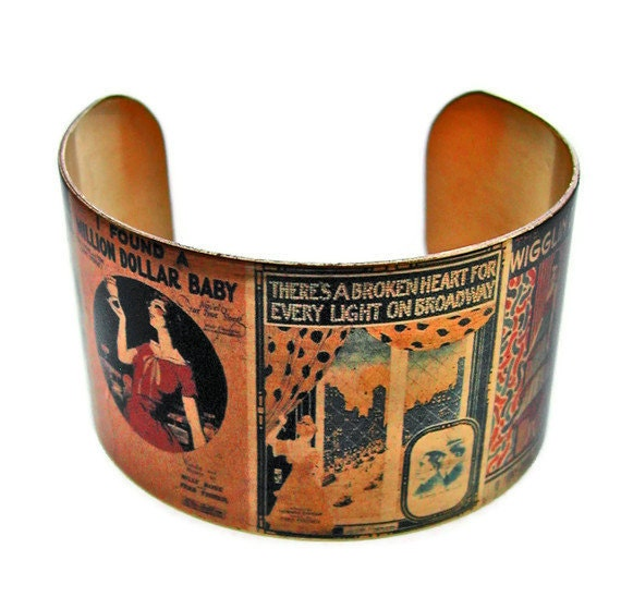 Flapper Piano Sheet Music cuff bracelet brass or stainless steel adjstable Gifts for her