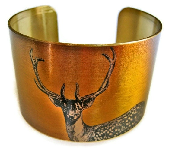 STAG DEER cuff bracelet brass or stainless steel Gifts for her