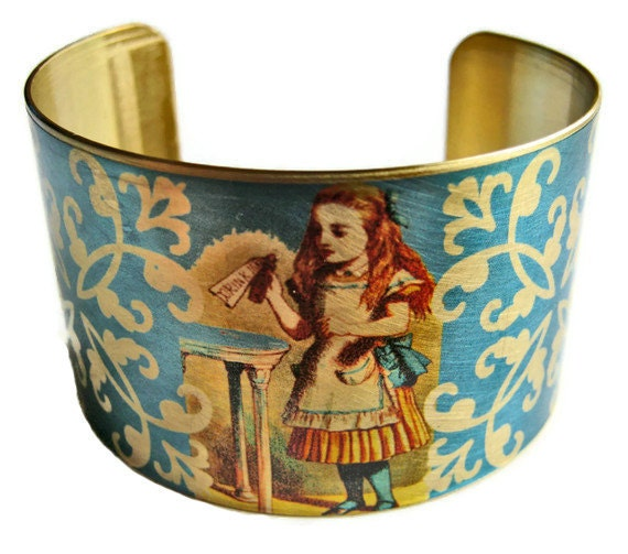 Alice in Wonderland Cuff Bracelet vintage style brass or stainless steel Free Shipping to USA Gifts for her