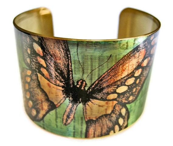 Butterfly cuff bracelet brass adjstable brass or stainless steel Gifts for her