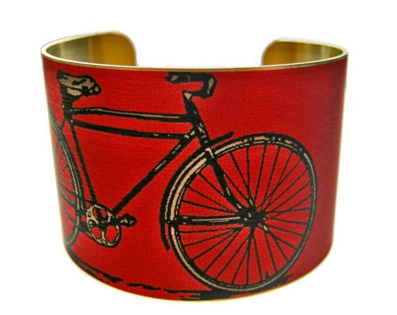 BIKE cuff bracelet brass or steel (As seen in Minnesota Monthly magazine) Free Shipping to USA Gifts for her