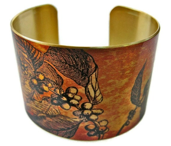 Coffee Branch cuff bracelet brass or stainless steel Gifts for her