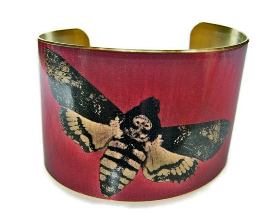 Death's Head moth cuff bracelet brass or stainless steel Gifts for her