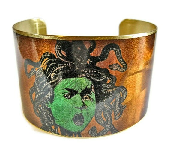 Medusa cuff bracelet brass or stainless steel Gifts for her