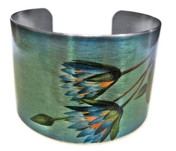 STAINLESS STEEL Blue Lotus adjustable cuff bracelet Vintage style