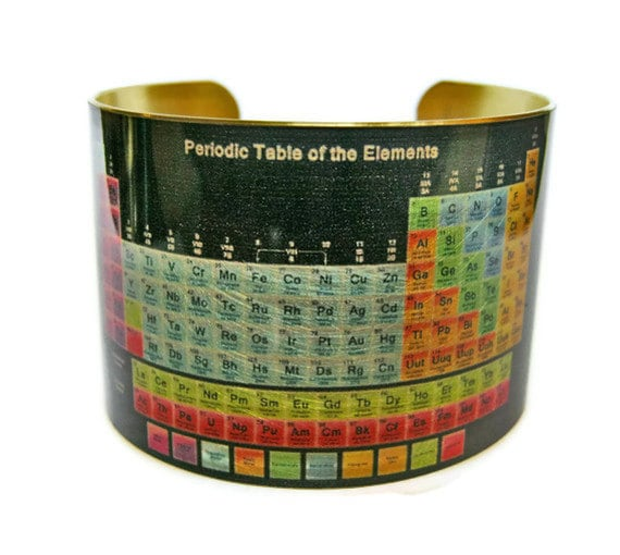 Periodic Table of Elements cuff bracelet brass or stainless steel Gifts for her Science gifts