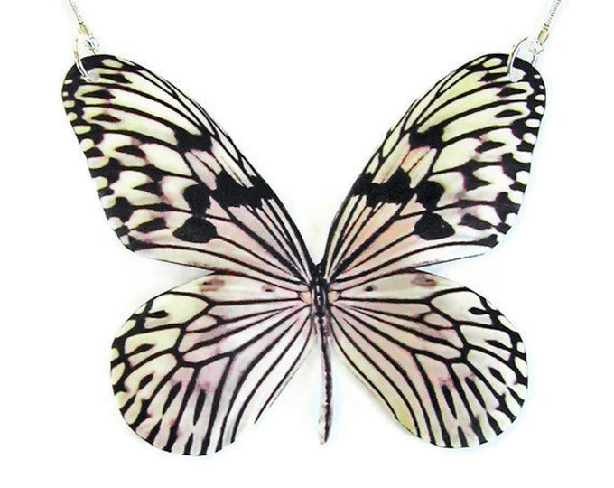 Necklace RICE PAPER BUTTERFLY Cruelty-free replica large pendant Gifts for her