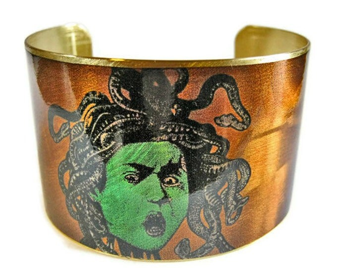 Medusa cuff bracelet brass Gifts for her